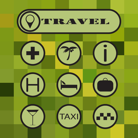 economy class: Travel icons on color background. Illustration