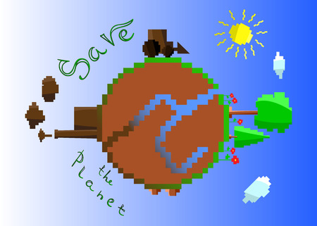green peace: Illustration of a Happy Earth, sunny day, green peace
