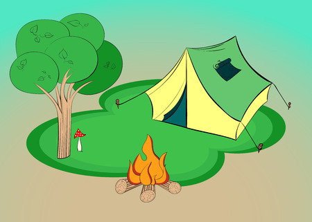 Summer hiking - illustration with tent, tree and campfire.