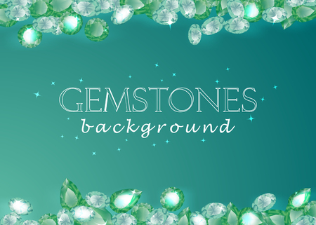 sparkling gemstones emeralds on background vector collection