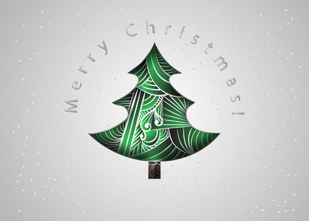 tangle: Christmas tree. Christmas post card in zen tangle style. Merry Christmas invitation card. Paper cut