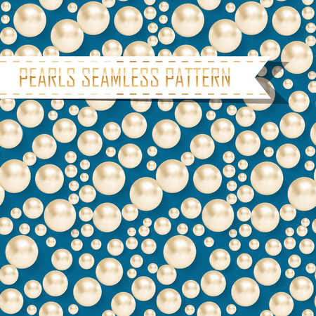 nacre: vector pearls seamless pattern on color background