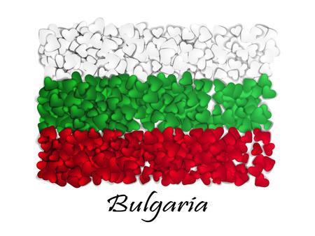 Aime la Bulgarie. Drapeau coeur brillant. Avec l'amour de la Bulgarie. Fabriqué en Bulgarie .. Journée nationale de l'indépendance de la Bulgarie.