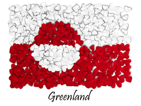 nuuk: Love Greenland. Flag Heart Glossy. With love from Greenland. Made in Greenland. Greenlandic national independence day. Illustration