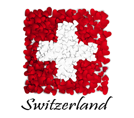 Love Switzerland. Flag Heart Glossy. With love from Switzerland. Made in Switzerland. Switzerland national independence day. Sport team flag. Bern flag