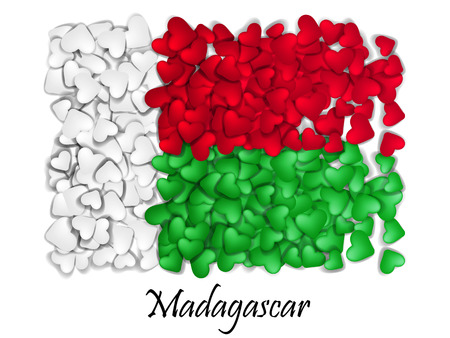 Flag Love Madagascar. Flag Heart Glossy. With love from Madagascar. Made in Madagascar. Madagascar national independence day. Sport team flag. Island. Madagascar food Illustration
