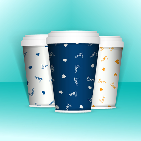 caffe: 3D Realistic set of paper coffee or tea cups. Mock up. Vector Template. Take away utensil, tableware. Hot drinks cups. White paper cup and with pattern about coffee love.