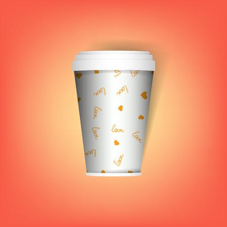 taza de café desechable aislada. Taza de café o té de papel realista, taza. Bosquejo. Plantilla de vector Quitar utensilio, vajilla. Tazas de bebidas calientes. Taza de papel blanco y con patrón de amor de café.
