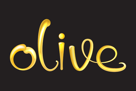 Olive Oil liquid text 3d. Shiny and glossy vector illustration. Illustration