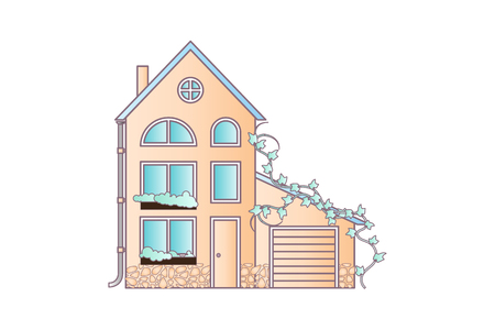 House flat style vector illustration. In soft colors