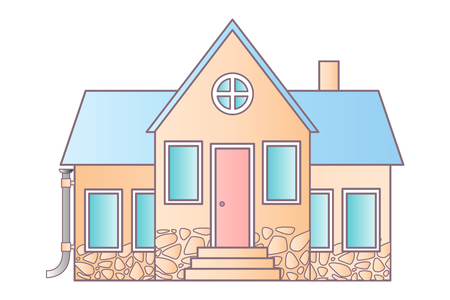 siding: Isolated house on white. Vector flat icon suburban american houses. For web design and application interface, also useful for infographics. Vector illustration.