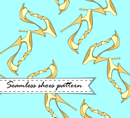 Seamless vector pattern of hand drawn shoes. Yellowon blue Illustration