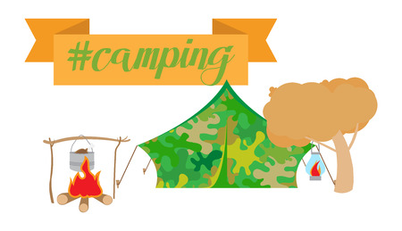Vector illustration of camping collection on white background Illustration