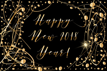 sequin: Vector Happy New year 2018 background with shiny drops and glitter on black