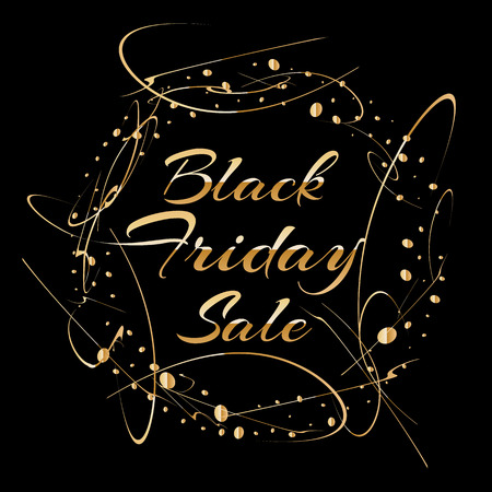 Black Friday sale poster design with black background, gold text, glitter sparkle effect