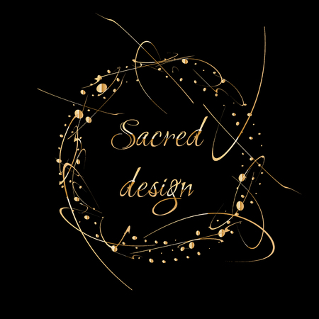 Abstract Vector Background with gold paint drops. Luxury design with place for text. Perfect for poster, flyer, banner, post or greeting card, business card. Sacred wreath