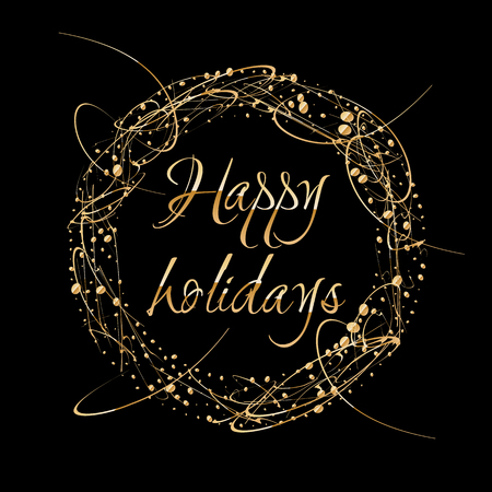 sequin: Vector Abstract shiny color gold design element with glitter effect on dark background. Happy Holidays greeting card wreath
