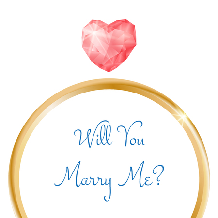 Vector engagement card. Will you marry me ring with heart shaped diamond Illustration