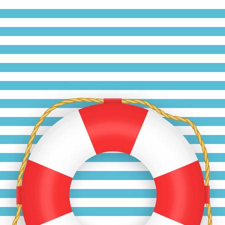Lifebuoy photo-realistic vector illustration on striped background. Symbol of help, rescue. Marine background