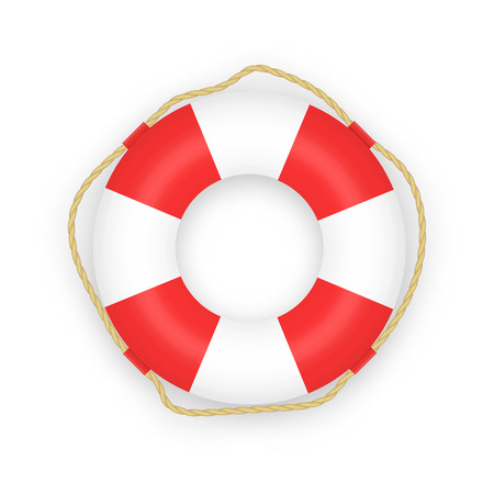 Realistic Lifebuoy isolated on white background. Vector illustration. Illustration