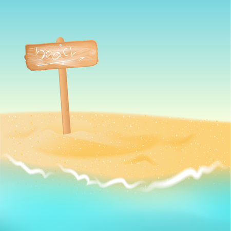 horizon over water: Vector wooden sign board with phrase beach. Signboard on background of sand beach, turquoise sea