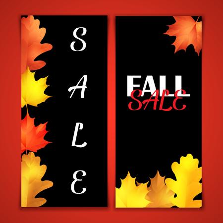 Autumn sale brochure. Black board with chalk lettering. Realistic leaves of oak and marple Illustration