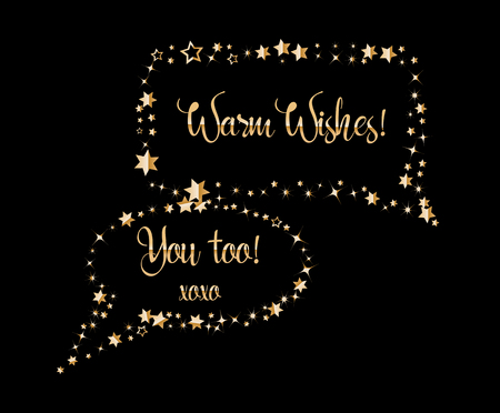 Gold air speech bubbles rectangular form with glitters and sparkles shaped stars. Greeting message card. Chat messages