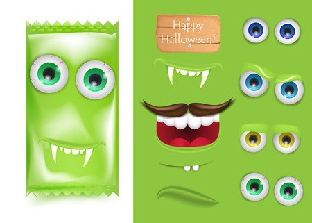 Halloween Emoji creator constructor of candy monster frankenstein. Smile and laught, vampire teeth and sad face . Trick or treat. Vector illustration for greeting card, ad, promotion, poster, flyer, blog, article, social media, marketing