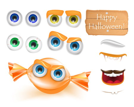 Halloween emoji face character alive candy monster for your scenes template. Emotion set of wrapped orange caramel candy. Trick or treat sweets. Vector illustration for greeting card, ad, promotion, poster, flyer, blog, article, social media, marketing
