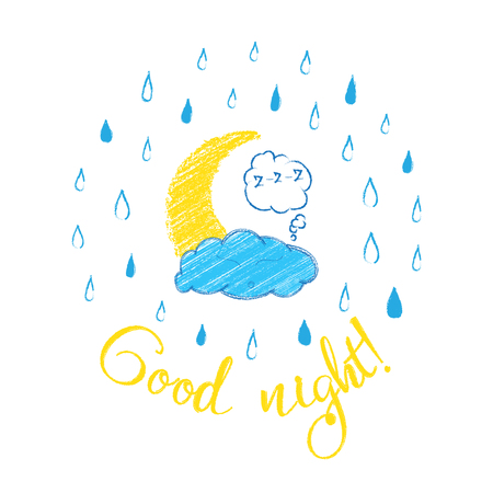 Vector background with evening sky. Moon and cloud sleeping together. Speech bubble good night wishing Illustration