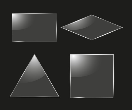 Set of glass square, rectangular and round frames realistic illustration.