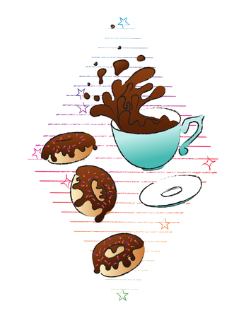 Coffee and donuts concept. Vector hand drawn illustration. Sketch style. Isolated objects. Illustration