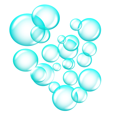 blue soap bubbles isolated on white background