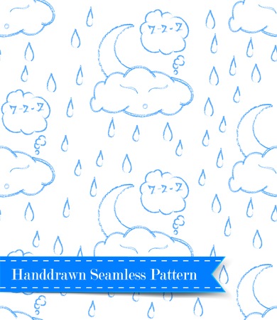 Vector background with evening sky seamless pattern. Moon and stars in the clouds.