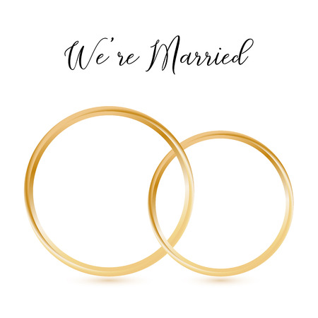 Wedding gold rings abstract isolated with lettering we are married