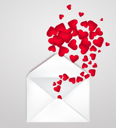 Happy Valentine s Day Envelope with realistic Hearts Inside. Vector Illustration. Realistic Mail post Envelope. Can be used for Mother s and Women s Day Greetings