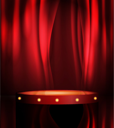 empty theatre stage, vector art image illustration. stand up comedian night show or karaoke party background with text space