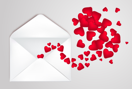 Happy Valentine s Day Envelope with realistic Hearts Inside. Vector Illustration. Realistic Mail post Envelope. Can be used for Mother s and Womens Day Greetings