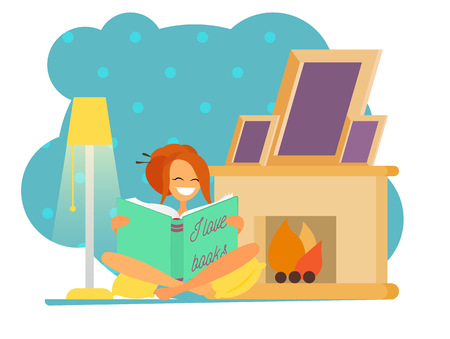 Illustrations of a beautiful girl sitting and reading a book, drinking tea with cookies near fireplace