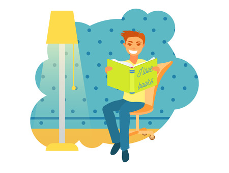 Illustrations of a man sitting and reading a book