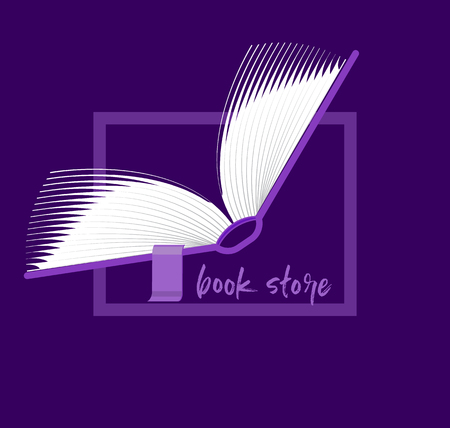 Book logo. Flipping pages of the open book