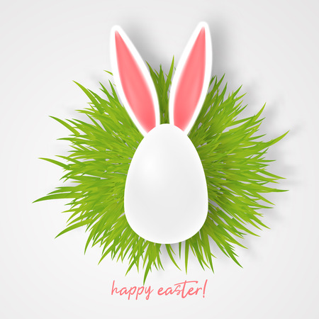 Vector Happy Easter Greeting Card with Color Easter Ears and egg