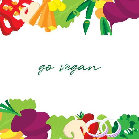Vegetables border with Go vegan text vector illustration flat style.