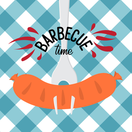 Barbecue party  invitation template. Vector illustration art on white and blue checkered background. Stock Illustratie