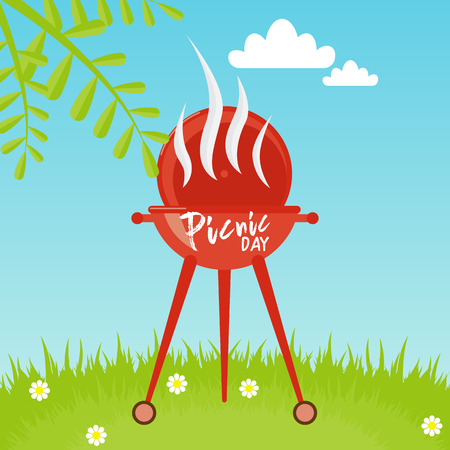 barbecue grill over landscape background. Lettering quote Picnic day