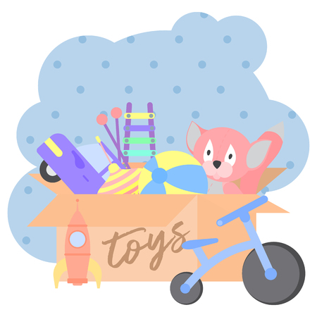 Toy Box, full of children s toys. Vector illustration cartoon.