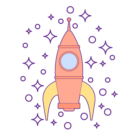 Sparkling rocket ship space vehicle blasting off into the sky. Kids toy for boys isolated.
