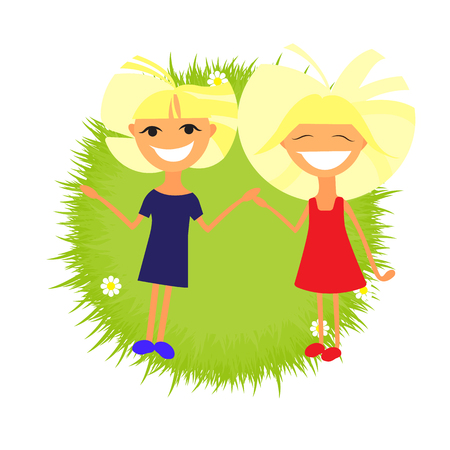 illustration of a kids and landcape in nature Illustration