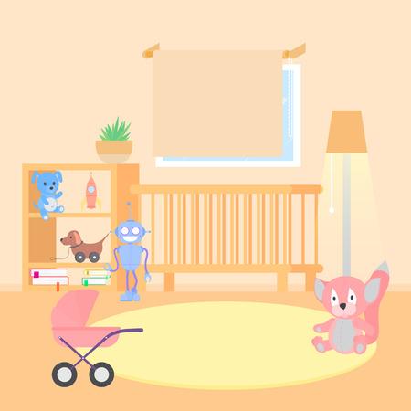 Baby room interior flat illustration. Vettoriali