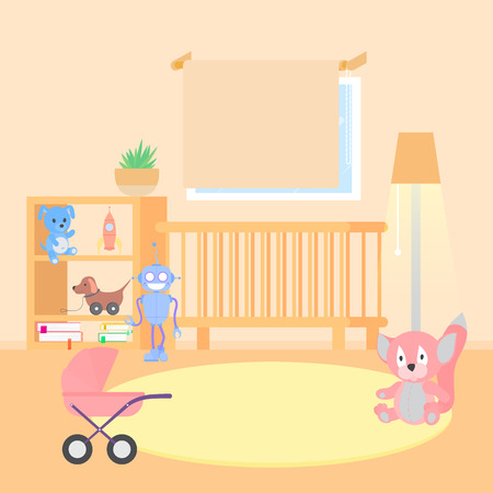 Baby room interior flat illustration. Vectores